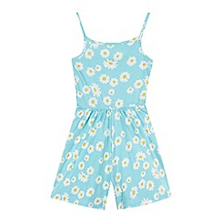 bluezoo - Girl's light turquoise daisy print playsuit