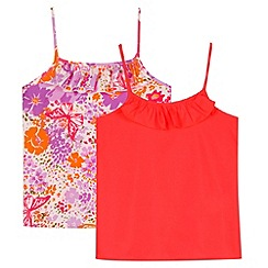 bluezoo - Pack of two girl's neon pink plain and floral vests