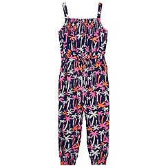 bluezoo - Girl's navy bright palm trees jumpsuit