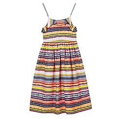 bluezoo - Girl's bright pink aztec striped maxi dress
