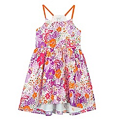 bluezoo - Girl's neon orange multi floral sundress