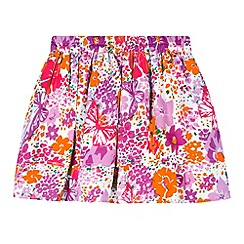 bluezoo - Girl's neon orange multi floral skirt