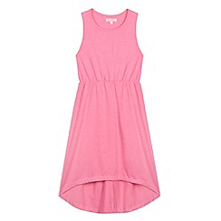 bluezoo - Girl's neon pink dipped hem dress