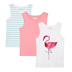 bluezoo - Pack of three girl's pink flamingo vests