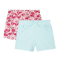 bluezoo - Set of two girl's aqua flamingo shorts