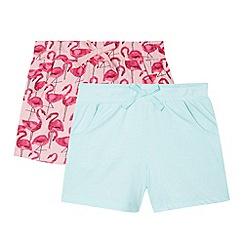 bluezoo - Set of two girl's aqua flamingo shorts