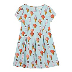 bluezoo - Girl's aqua ice cream printed tea dress