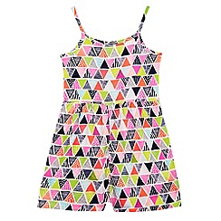 bluezoo - Girl's bright pink aztec playsuit