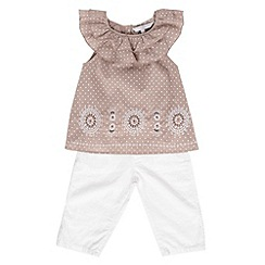 J by Jasper Conran - Designer girl's taupe spotted top and cropped trouser set