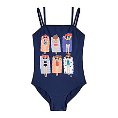 bluezoo - Girl's navy character lilo print swimsuit