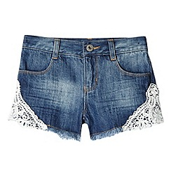bluezoo - Girl's blue lace trimmed denim shorts
