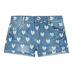 bluezoo - Girl's blue heart print denim shorts