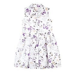 bluezoo - Girl's white butterfly print shirt dress