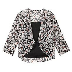 bluezoo - Girl's black floral kimono set