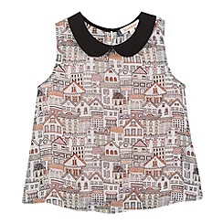 bluezoo - Girl's off white houses print top