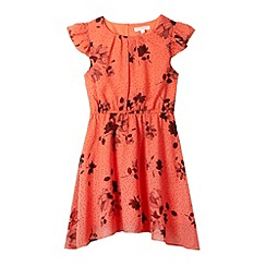 bluezoo - Girl's coral floral printed tea dress