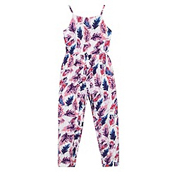 bluezoo - Girl's lilac feather print jumpsuit