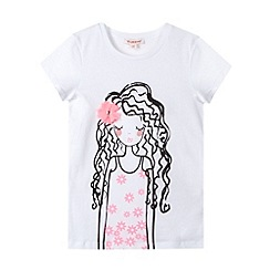 bluezoo - Girl's white girl print t-shirt