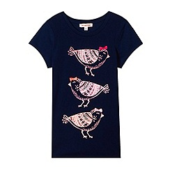 bluezoo - Girl's navy glitter bird print t-shirt