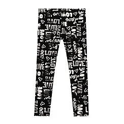 bluezoo - Girl's black graffiti print leggings