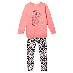 bluezoo - Girl's neon pink girl print sweat top and leggings set