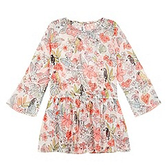 bluezoo - Girl's off white tropical bird kaftan
