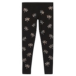 bluezoo - Girl's black diamante dragonfly leggings