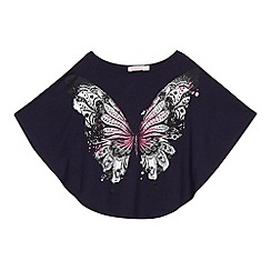 bluezoo - Girl's navy glitter butterfly top
