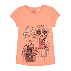 bluezoo - Girl's neon orange fashion girls printed t-shirt