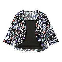 bluezoo - Girls black 2-in-1 butterfly print kimono
