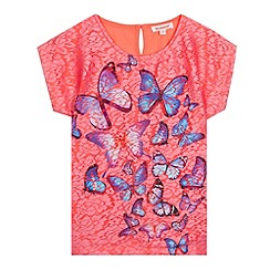 bluezoo - Girl's bright pink butterfly lace top