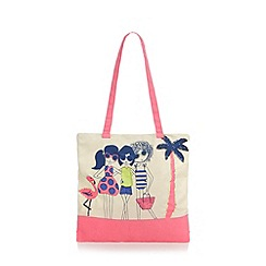 bluezoo - Girl's natural girls on holiday print beach bag