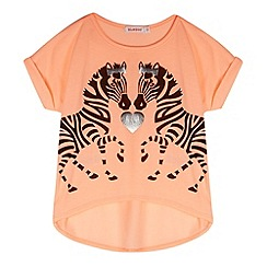 bluezoo - Girl's coral neon zebra top