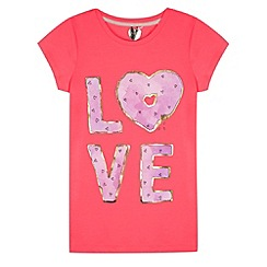 bluezoo - Girl's bright coral 'Love' doughnut slogan t-shirt