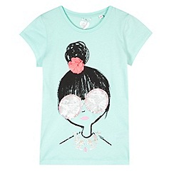 bluezoo - Girl's turquoise sequin girl t-shirt
