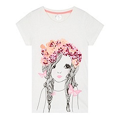 bluezoo - Girl's off white girl sequin t-shirt
