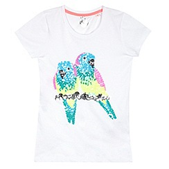 bluezoo - Girl's white sequin parrots t-shirt
