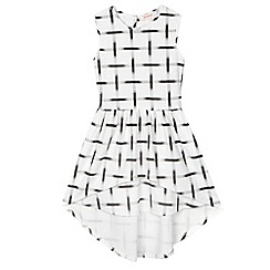 bluezoo - Girl's white grid print dipped hem dress