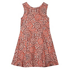 bluezoo - Girl's coral floral skater dress