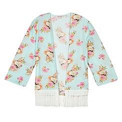 bluezoo - Girl's green pretty floral kimono