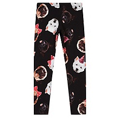 bluezoo - Girl's black dog face leggings