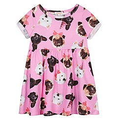 bluezoo - Girl's pink dog printed dress