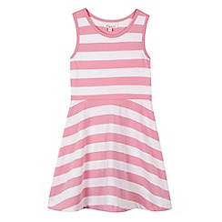 bluezoo - Girl's pink striped sleeveless skater dress