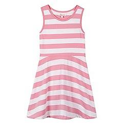 bluezoo - Girl's pink striped sleeveless skater dress