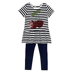 bluezoo - Navy sequin cherry dress and leggings set