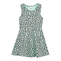 bluezoo - Girl's green leopard print dress