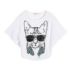 bluezoo - Girl's white headphones cat top