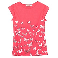 bluezoo - Girl's neon pink butterflies t-shirt