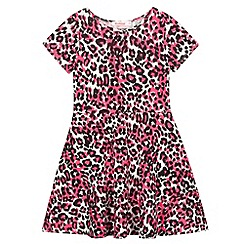 bluezoo - Girl's neon pink leopard print skater dress