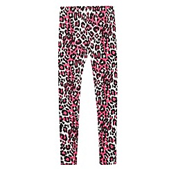 bluezoo - Girl's neon pink leopard print leggings